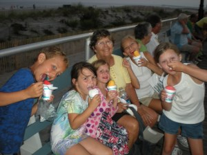 Eating ice cream on the Ocean City Boardwalk with my grandchildren and their cousins.