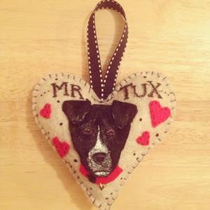 CAssie dog heart Mr. Tux