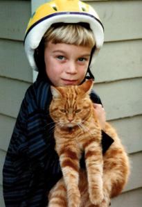Grandson Evan and mad cat