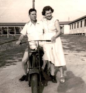 Mom and Daddy, 1952, Long View, TX. at Uncle Bob Ellis's graduation from Le Tourneau Tech Institute