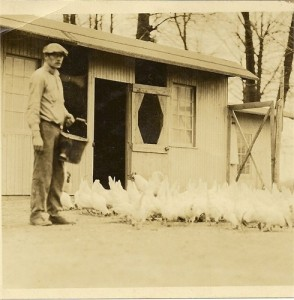 Mom's father, Richard Alvin Carlton, Sr. checking on the chickens at Brewster Road and Vine Road.