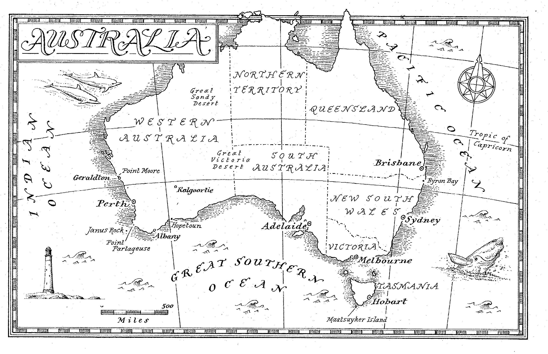 Two Oceans Meet Below Australia JaniceHeck - Map of us drawn by australian