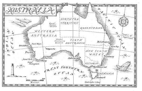 Map of Australia from the book The Light Between Oceans, a novel by M.L. Stedman. Look in the southwest corner for the (fictional) Point Partageuse.