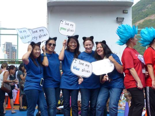 Pete the Cat teachers at Book-o-Ween, Hong Kong International School