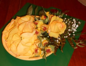 Bowl of drying yellow anniversary rose petals. Janice Heck photo