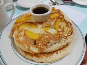 Peach Pancakes at Main Street Cafe