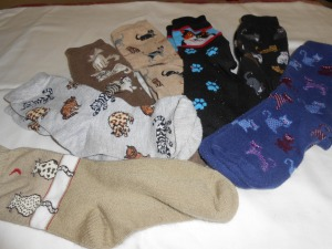 Missy Jan's kitty sock collection