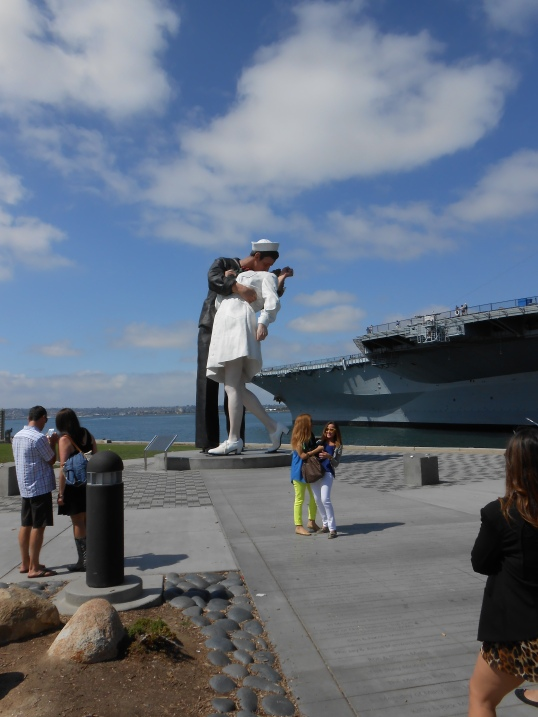 Unconditional Surrender, Sculpture by Seward Johnson. USS Midway Museum, San Diego Harbor. Dedicated FEb. 16, 2013.