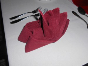 Red folded napkins...