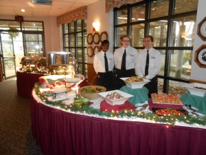 Our student hosts/servers at the ready behind the buffet bar