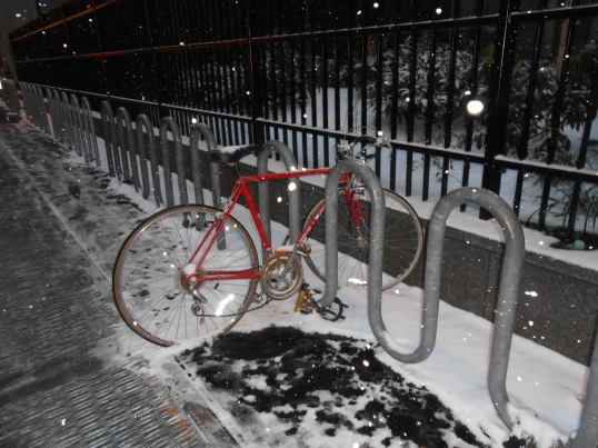 One bike in the snow. NYC
