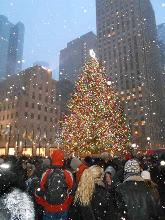 AS happy as the crowd viewing the lighted Christmas Tree near Radio City Music Hall in New York City