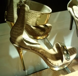 One golden shoe in a shop window...
