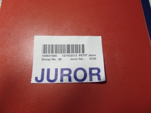 My official juror badge sans the plastic holder we had to return to the court  clerk.
