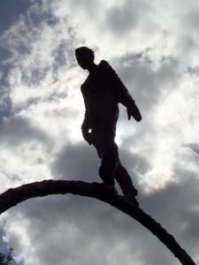"Looking up at ""Moving Forward"" by Delores Fell in Riverside Park, Bonita Springs, Florida."