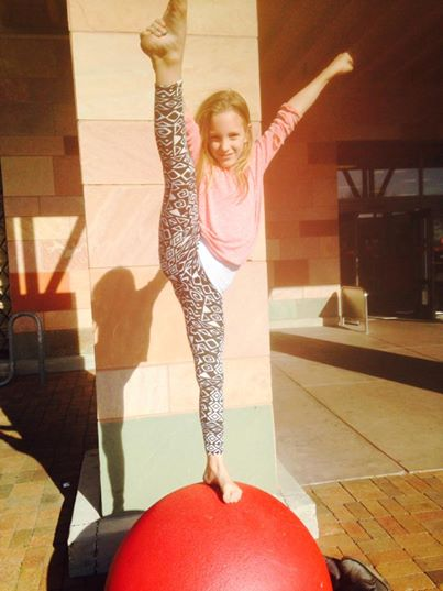 Granddaughter Madelynn is equally loose-limbed, loose-jointed, and talented. Amazing granddaughters!