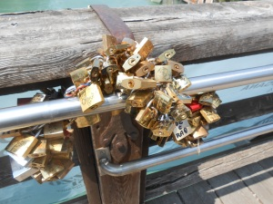photo, Janice Heck Accademic Bridge and padlocks of couples proclaiming their everlasting love.
