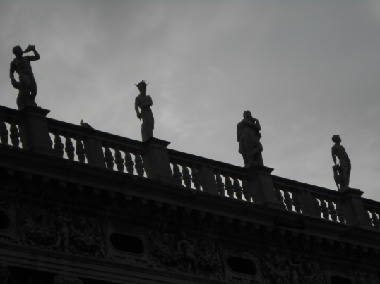 Statues atop the Libreria Sansoviniana in the Piazzetta next to Piazza San Marco.