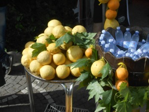Yellow lemons in a market square, Pompei, Itlay. Janice Heck photo
