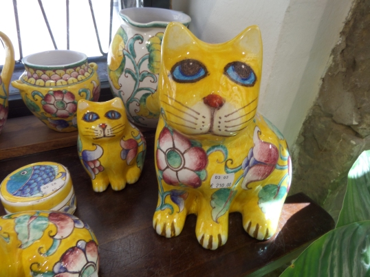 Yellow kitties in a shop window in Barcelona, Spain. Janice Heck photo